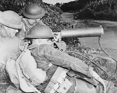 A Machine Gun Crew Of American Troops Poster by Stocktrek Images