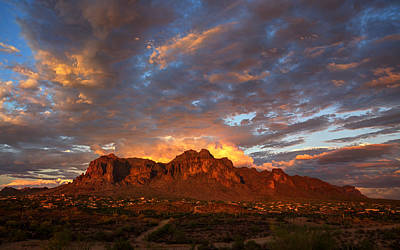 A Majestic Sunset At The Superstitions Poster