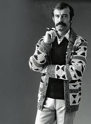 A Male Model Wearing An Aztec-motif Cardigan Poster