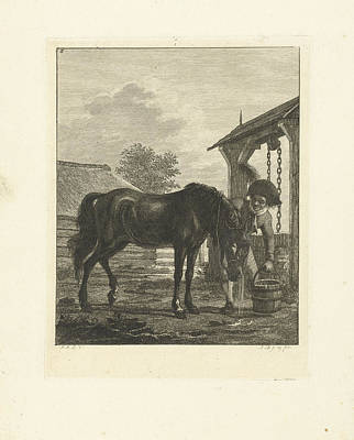 A Man And A Horse Near A Well, Print Maker Joannes Bemme Poster by Joannes Bemme And Jan Anthonie Langendijk Dzn