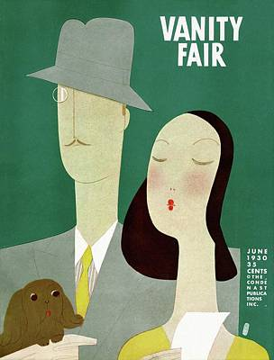 A Man And A Woman With A Dog Poster by Eduardo Garcia Benito