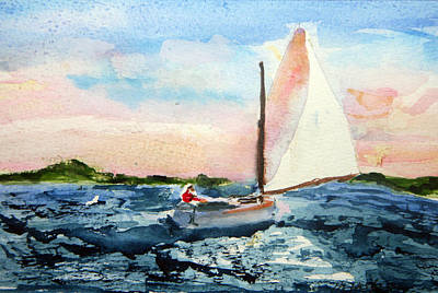 Poster featuring the painting A Man And His Boat by Michael Helfen