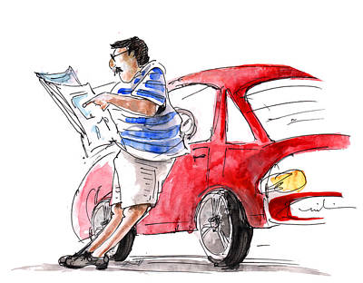 A Man And His Car And His Newspaper Poster by Miki De Goodaboom