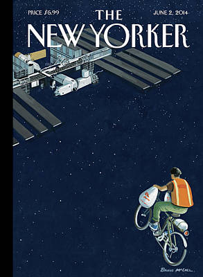 A Man Delivers Food To A Space Station Poster