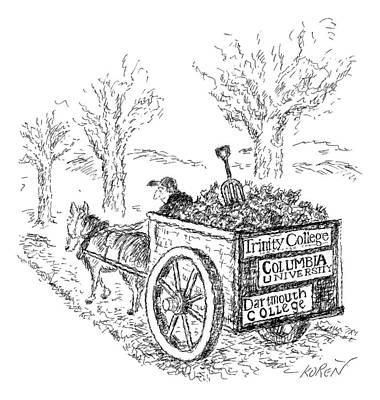 A Man Drives A Horse-drawn Cart With Bumper Poster by Edward Koren