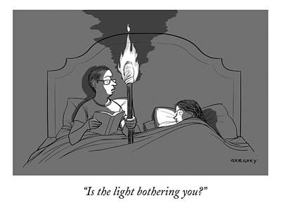 A Man Holds A Torch In Bed As His Reading Light Poster