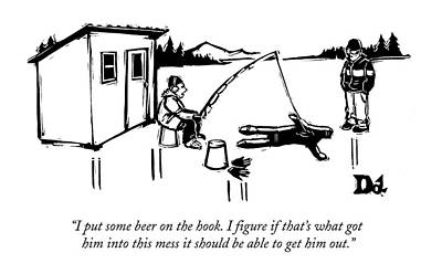 A Man Ice Fishes Through Man-shaped Hole Poster