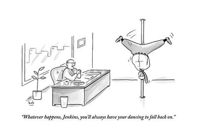 A Man Is Seen Pole Dancing In A Corporate Office Poster by Bob Eckstein