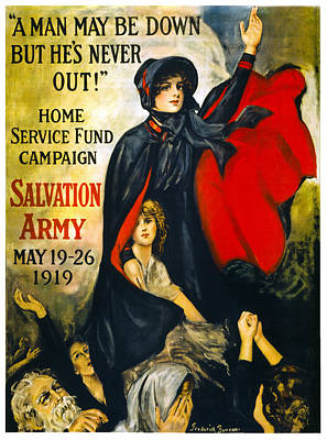 A Man May Be Down . . .   1919 Poster by Daniel Hagerman