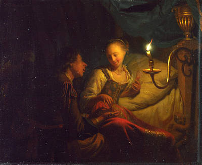 A Man Offering Gold And Coins To A Girl Poster by Godfried Schalcken