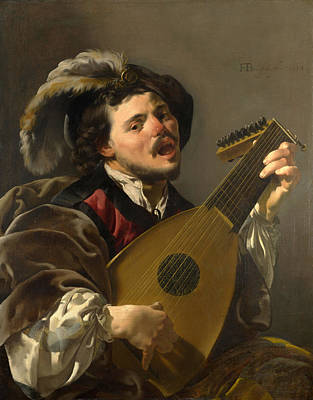 A Man Playing A Lute Poster by Hendrick ter Brugghen