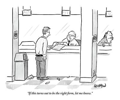 A Man Receives A Form From An Apathetic Teller Poster by Robert Leighton