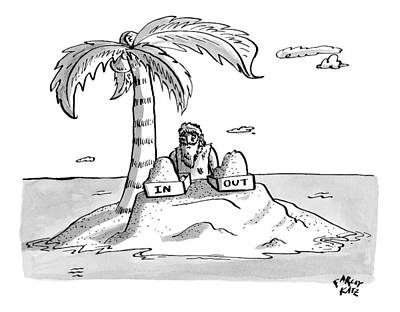 A Man Sits On A Deserted Island With Two Boxes: Poster by Farley Katz