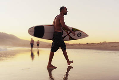 A Man Walking With His Surfboard On Poster