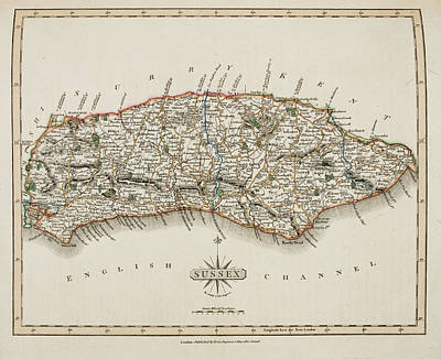 A Map Of The County Of Sussex Poster by British Library
