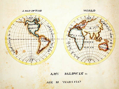 A Map Of The World 1827 Poster by Celestial Images