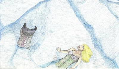 Poster featuring the drawing A Mermaids Moment by Kim Pate