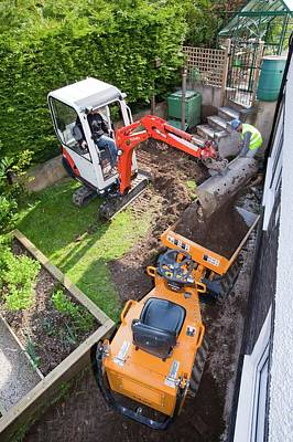 A Mini Digger And Mini Dumper Truck Poster by Ashley Cooper