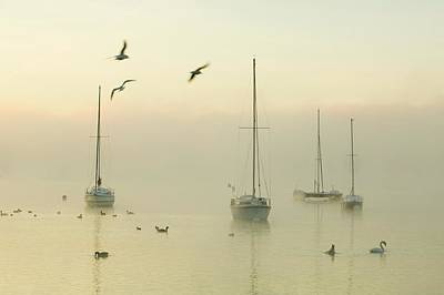 A Misty Morning Over Lake Windermere Poster by Ashley Cooper