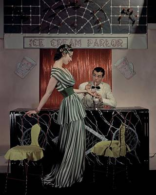 A Model At An Ice Cream Parlor Poster by John Rawlings