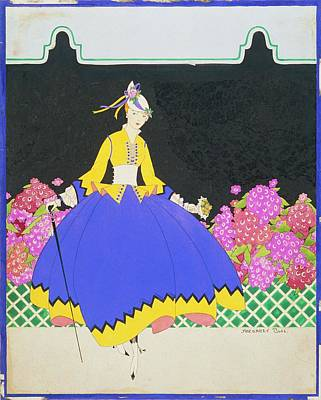 A Model By Flowers Poster by Margaret B. Bull