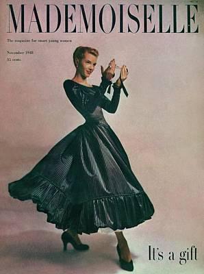 A Model In A Dress By Motley Of London Poster by Gene Fenn