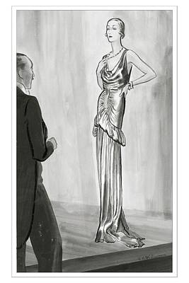A Model In A Lanvin Gown Poster by Rene Bouet-Willaumez