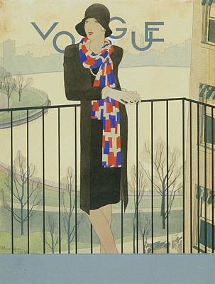 A Model On A Balcony Poster by Pierre Mourgue
