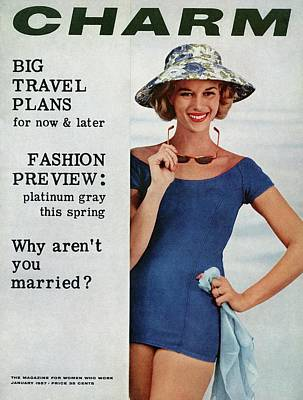 A Model Wearing A Blue Bathing Suit And A Hat Poster by Artist Unknown