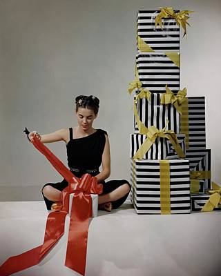 A Model Wearing A Dress By Margot Poster by Clifford Coffin