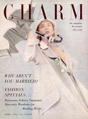 A Model Wearing A Duster Coat By Duchess Royal Poster by Milton Greene