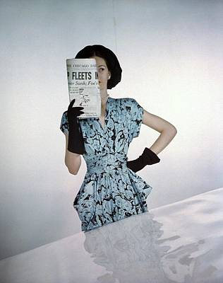 A Model Wearing A Floral Blue Dress Poster