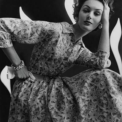 A Model Wearing A Floral Dress Poster by Sante Forlano