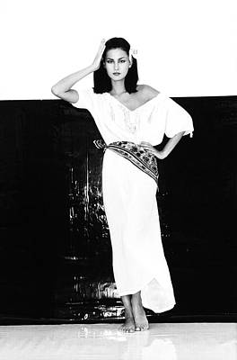 A Model Wearing A Gauze Shirt And Pants Poster