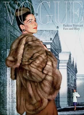 A Model Wearing A Jacket Of Asiatic Marten Poster by John Rawlings