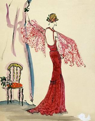 A Model Wearing A Lanvin Dress Poster by Christian Berard