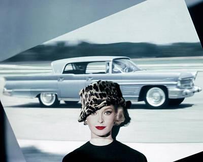 A Model Wearing A Leopard Print Hat Poster by John Rawlings
