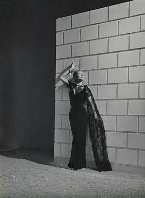 A Model Wearing A Mainbocher Dress Poster