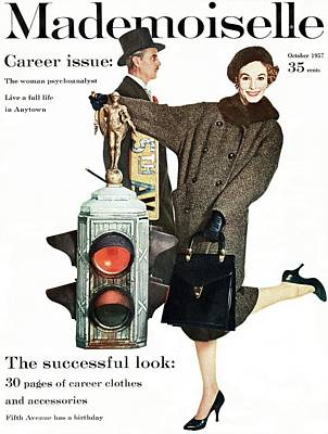 A Model Wearing A Modelia Tweed Coat Poster