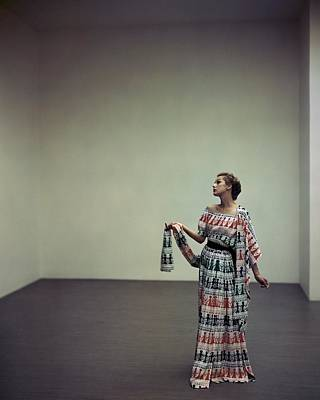A Model Wearing A Patterned Dress Poster