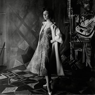 A Model Wearing A Printed Dress And Jacket Poster by Henry Clarke