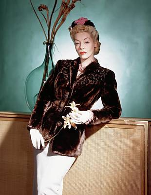 A Model Wearing A Sealskin Jacket Poster by Horst P. Horst
