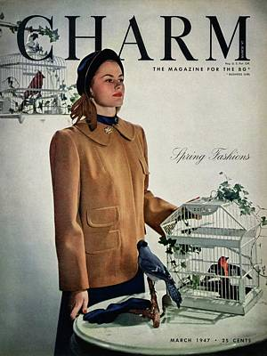 A Model Wearing A Wool Suede Coat With A Jay Bird Poster by Hal Reiff