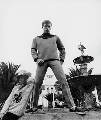 A Model Wearing A Woolen Sweater Poster