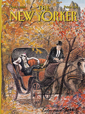 A Mohawked Punk Sitting In The Back Of A Horse Poster by Edward Sorel