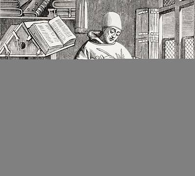 A Monk Scribe Surrounded By Manuscripts And Books At His Desk, After A 15th Century Work, From Les Poster