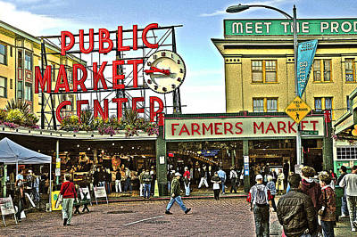 Poster featuring the photograph A Morning At Pikes Place Market by Gary Neiss