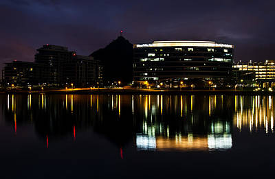 A- Mountain Reflection In Tempe Town Lake Poster by Dave Dilli