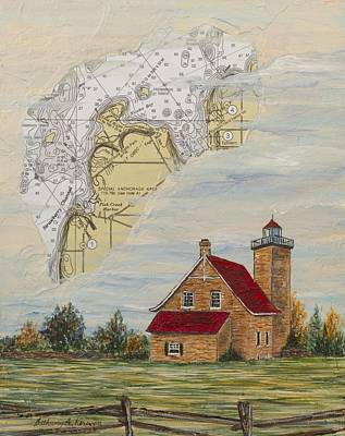 A Nautical View Of Eagle Bluff Lighthouse Poster by Bethany Kirwen