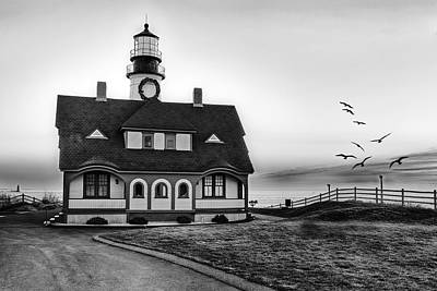 A New Day At Portland Head Light Bw Poster by Susan Candelario